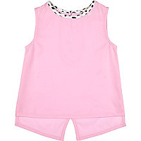 Mini girls pink split back sleeveless top