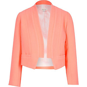 Girls coral cropped blazer