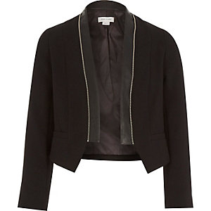 Girls black zip collar jacket