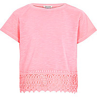 Girls pink crochet hem short sleeve top