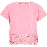 Girls pink crochet hem short sleeve top