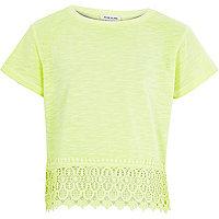 Girls lime green crochet hem short sleeve top
