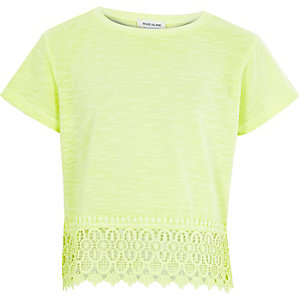 Girls lime green crochet hem short sleeve top