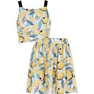 Girls white lemon print co-ords outfit