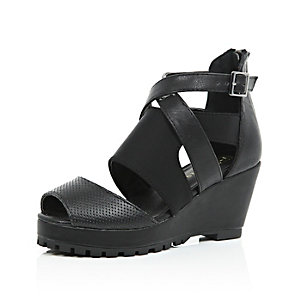 Girls black strappy wedges