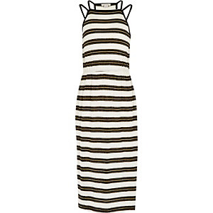 Girls black glitter stripe midi dress