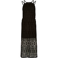 Girls black lace layer midi dress