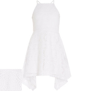 Girls white lace handkerchief hem dress