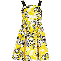 Girls yellow retro floral print dress
