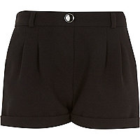 Girls black tailored shorts
