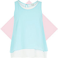 Girls blue double layer vest