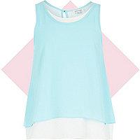 Girls blue double layer vest