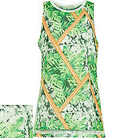 Girls green tropical print mesh vest