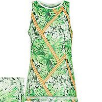 Girls green tropical print mesh vest