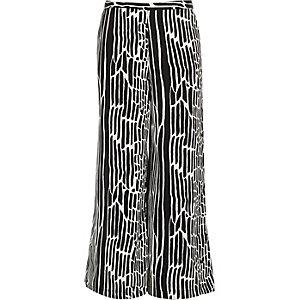 Girls monochrome zebra print palazzo pants
