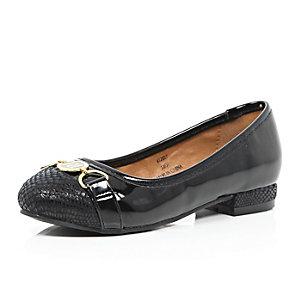 Girls black branded ballerina shoes