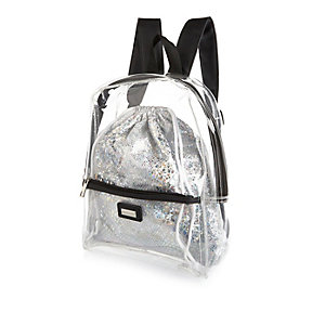 Girls clear metallic 2-in-1 backpack