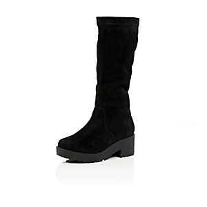Girls black long knee high boots