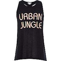 Girls black urban jungle racer back vest