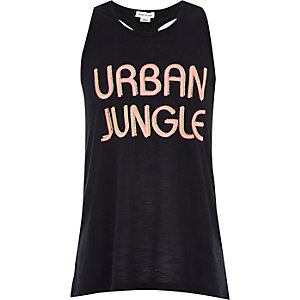 Girls black urban jungle racer back vest