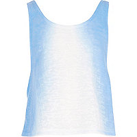Girls blue faded crop top