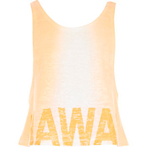 Girls orange Hawaii faded crop top