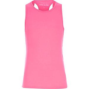 Girls pink woven back vest