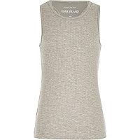 Girls grey woven racer back vest