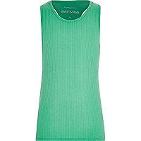 Girls green woven racer back vest