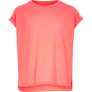 Girls coral plain woven back t-shirt