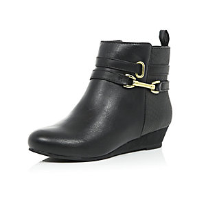 Girls black wedge ankle boots