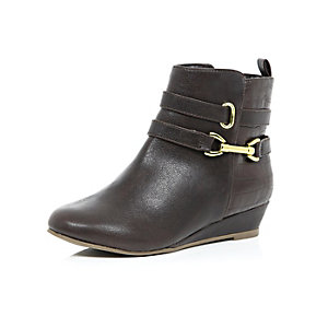 Girls brown wedge ankle boots