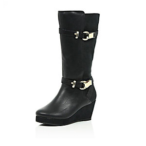 Girls black knee high wedge boots