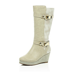 Girls cream knee high wedge boots