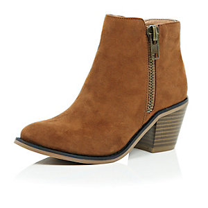Girls light brown ankle boots