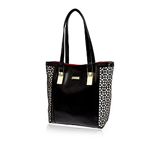 Girls black shopper bag