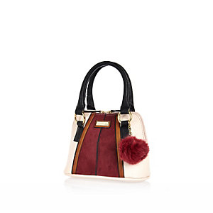 Girls dark red pom pom tote bag