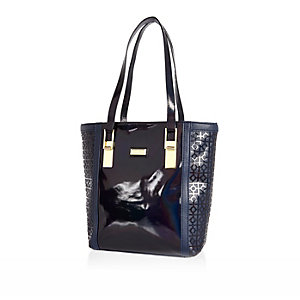 Girls navy laser cut shopper bag
