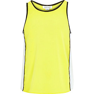 Girls fluro yellow split back vest