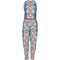 Girls purple floral print jumpsuit