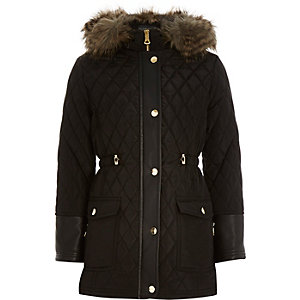 Girls black quilted longline parka coat