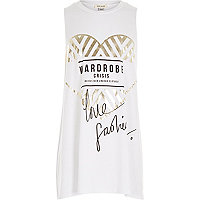 Girls white fashion print tank top
