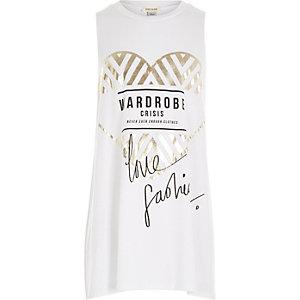 Girls white fashion print tank top