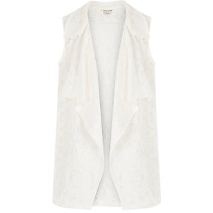 Girls white lace draped cover up