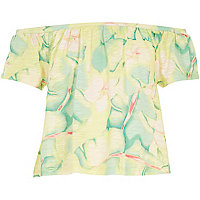 Girls green leaf print bardot top