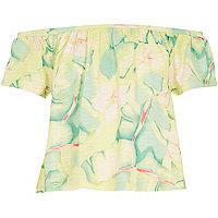 Girls green leaf print bardot top