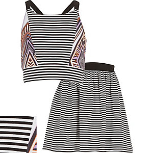 Girls black stripe print co-ords outfit