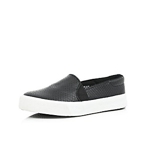 Girls black slip on plimsolls