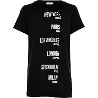 Girls black city print t-shirt
