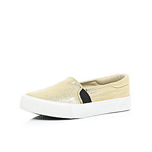 Girls metallic gold slip on plimsolls